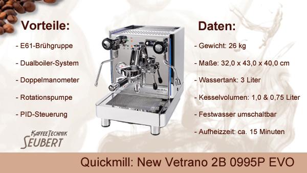 Quickmill: New Vetrano 2B 0995P EVO mit PID und LED