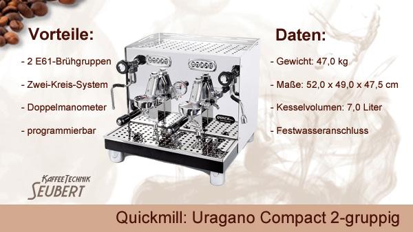 Quickmill: Uragano Compact 2-gruppig